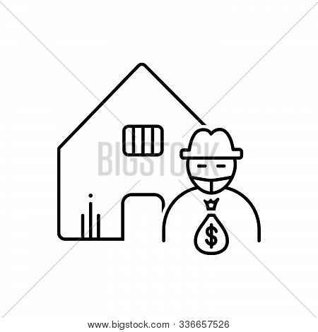 Black Line Icon For Theft-vandalism Theft  Vandalism Building Robbery Robber
