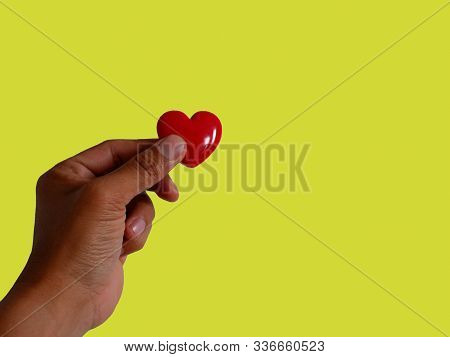 Gift Red Heart Hold In Hand. Royalty High-quality Free Stock Images Of Hands Holding Gift Red Heart,