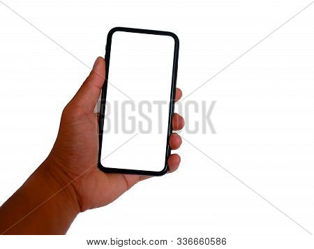 Stock Image Of Smart Phone With White Screen Isolated White Background. Closeup Of Hands Using Mobil