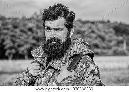 Hike And Travel. Hiker Tourist. Brutal Manly Guy. Weekend Leisure And Vacation. Hiker Bearded Man Hi