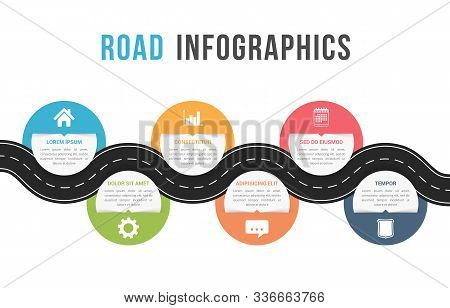 Road Infographics With Six Circles With Place For Your Icons And Text, Vector Eps10 Illustration