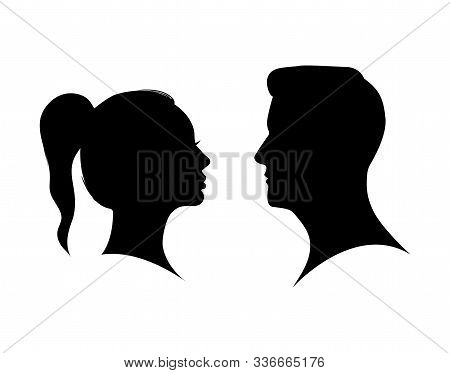 Couple Man And Woman Profile Silhouette Face To Face. Male And Female Head Black Shadow. Anonymous C