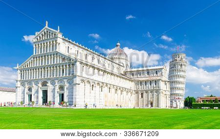 Pisa Cathedral Duomo Cattedrale And Leaning Tower Torre On Piazza Del Miracoli Square Green Grass La