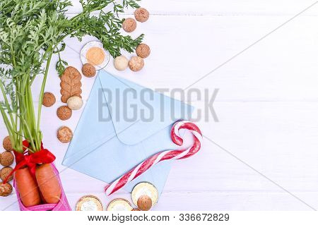 Traditional Dutch Holiday For Children Sinterklaas. Winter Holidays In Europe And The Netherlands. B