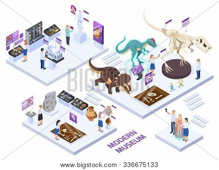 Modern Natural History Museum Halls Isometric Set With Fossils Jars Dinosaurs  Interactive Exhibits