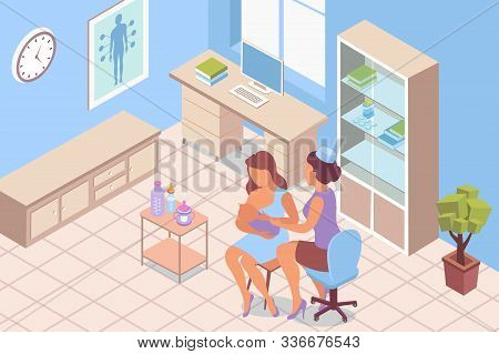 Breastfeeding Consultation Lactation Isometric Composition With Indoor Scenery Of Clinic Room With D