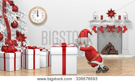Santa Claus Pushing Gift. Merry Christmas And Happy New Year 2020 Animation. Santa Claus With A Chri