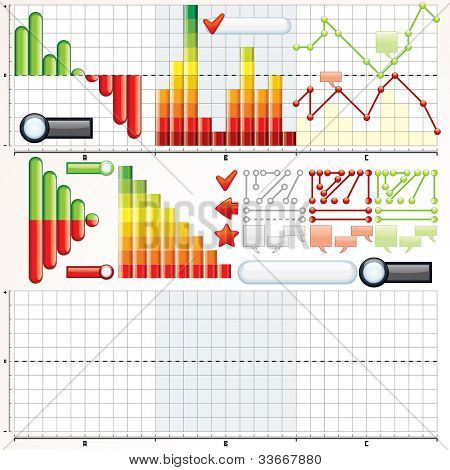 Collection of Variety Business Graphs, Diagrams. Vector Kit for your Design and Presentation