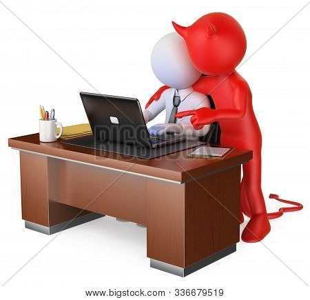 3d White People Illustration. Businessman Receiving Bad Advice From The Devil. Metaphor. Isolated Wh