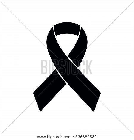 Black Ribbon Icon, Breast Cancer Awareness Symbol. Vector Illustration