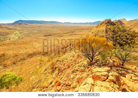 Northern Territory, Central Australia Outback. Aerial View From Viewpoint Of Ormiston Pound Walk, A