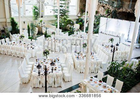 Beautiful Wedding Set Decoration In The Restaurant.