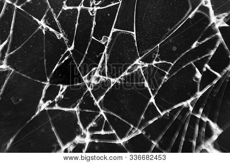 Broken Glass Texture. Abstract Of Cracked Phone Screen. Smartphone Broken Cracked Glass Texture Of D