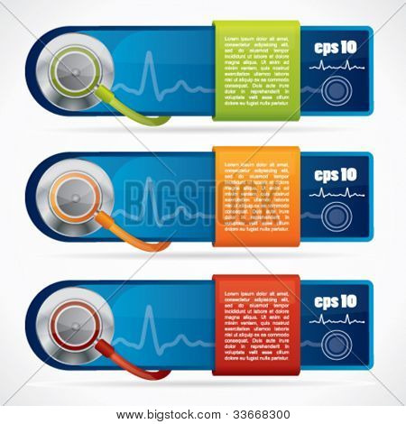 Glossy web2 medical banners with stethoscope