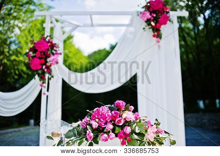 Beautiful Wedding Set Decoration In The Outdoor Ceremony.