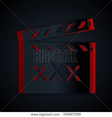 Paper Cut Movie Clapper With Inscription Xxx Icon Isolated On Black Background. Age Restriction Symb