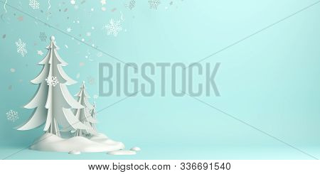 Winter Abstract Background, Happy New Year 2020, Winter Banner, Snow Icon, Pine, Spruce, Fir Tree Ar