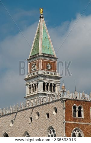 Venice, Italy: View Of Campanile At The Piazza San Marco (st Mark's Campanile, Italian: Campanile Di