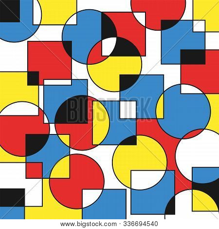 Abstract Geometric Background Of Intersecting Circles And Squares Of Different Colors For Design And