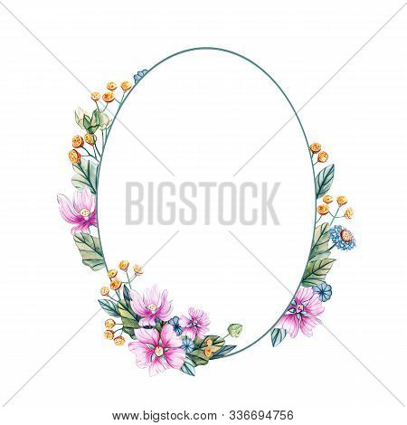 Watercolor Illustration With Oval Frame Of Wildflowers For A Wedding. Floral Card With Pink Flowers,