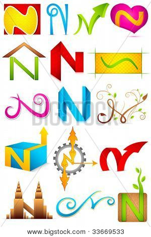 illustration of set of different colorful icon for alphabet N