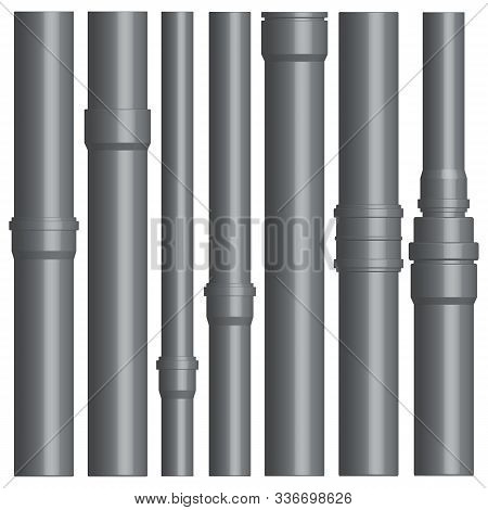 Set Of Various Plastic Pipes For Sewage, Water Pipe With Connecting Flanges Isolated On A White Back