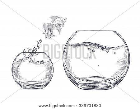 Small Goldfish Jumping From One Fishbowl To Other