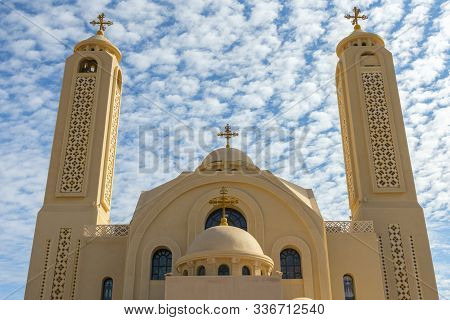 Coptic Orthodox Church In Sharm El Sheikh, Egypt.against The Backdrop Of A Beautiful Sky With Clouds