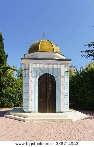 Blue And White Muslim Durbe With A Golden Dome In Marshal Sokolov Square In Yevpatoria, Crimea