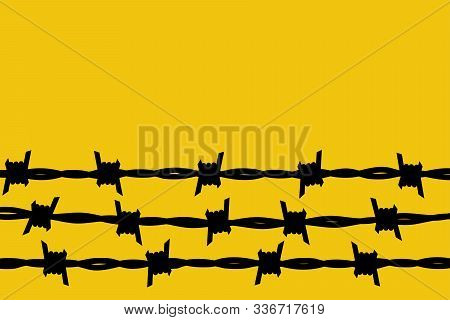 Barbed Wire. Black Silhouette Of A Prison Fence. Steel Line With Sharp Spikes. Metal Border Glyph Pi