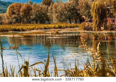 Bright And Lively Lake Of Posta Fibreno Nature Reserve In The Italian National Park Of Abruzzo Lazio