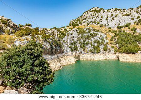 Colorful Lake Gorg Blau, Mallorca, Ballears. Colorful Lake Gorg Blau In Mallorca, Ballears