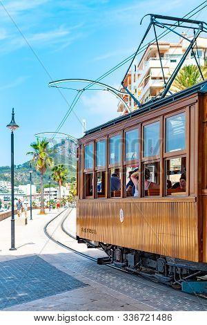 Port De Soller Mallorca, Balearic Islands, Spain, July 19 2019 - Orange Tram In Port De Soller Mallo