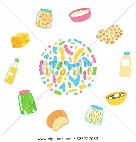 Probiotic Sources In Circle. Hand Drawn Infographic Poster With Probiotic Food - Vector. Prebiotic,