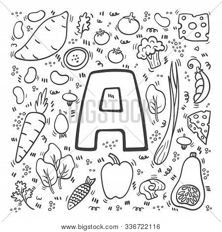 Vitamin A Doodles. Hand Drawn Illustration Of Different Food Rich Of Vitamin A. Set Of Food With Vit