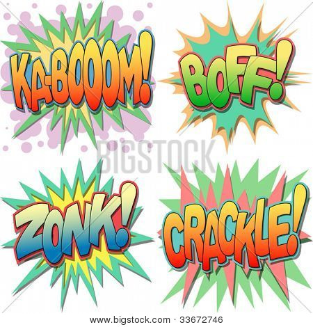 A Selection of Comic Book Exclamations and Action Words, Ka-boom, Boff, Zonk, Crackle.