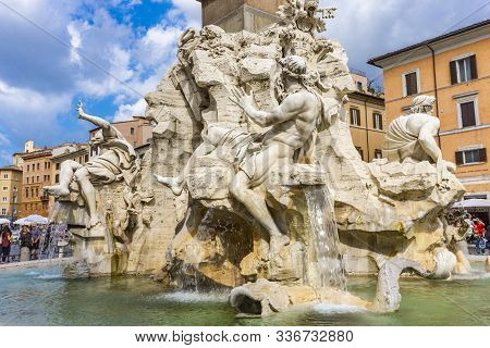 Rome, Italy - September 24, 2018: Fontana Dei Quattro Fiumi, Piazza Navona In Rome, Italy. It Was De