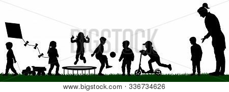Kindergarten With Playing Children. Socialization Of Children. Playground With Kids Silhouette Vecto