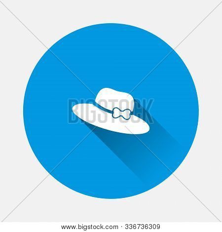 Vector Icon Hat With Brim Icon On Blue Background. Flat Image With Long Shadow.