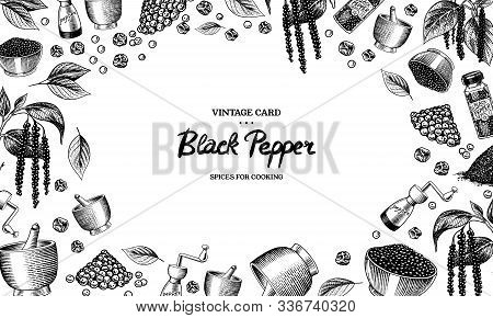 Black Pepper Background In Vintage Style. Mortar And Pestle, Allspice Or Peppercorn, Mill And Dried