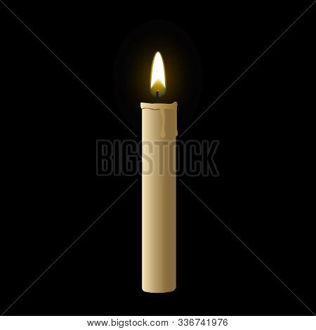 Candle Flame Fire Light. Realistic Paraffin Candle. Stock Vector Illustration.