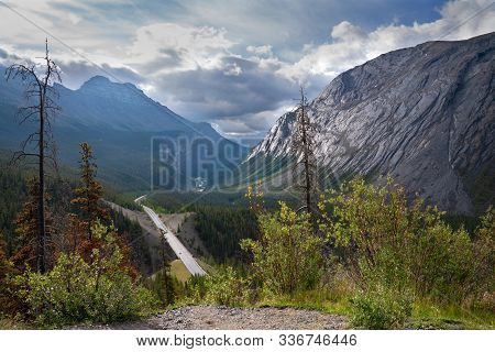 Panoramic Image Of The Icefield Parkway, Jasper National Park, Alberta, Canada