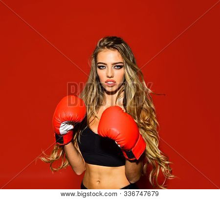 Woman Boxer. Martial Arts Or Self Defence. Sport Boxer Woman In Boxing Gloves. Fitness Girl Training