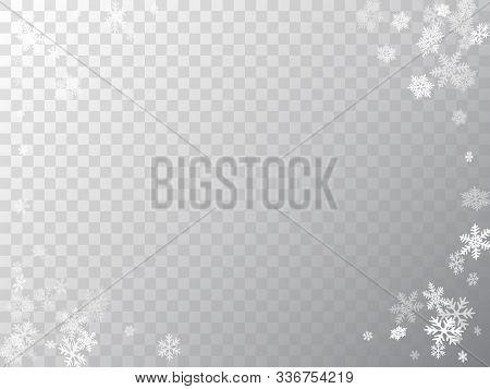 Winter Snowflakes Border Minimal Vector Background.  Many Snowflakes Flying Border Design, Holiday B