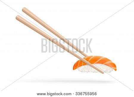 Salmon Sushi. Isolated Sushi Roll With Chopsticks. Realistic Vector Illustration