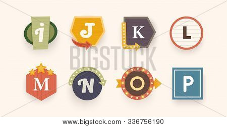 Retro Font. Letters On Vintage Style. Retro Signs. Alphabet. Vintage Label, Emblem And Logo. Vector