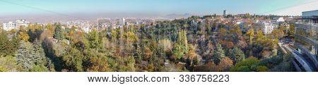 Ankara in autumn foliage - Ankara panoramic cityscape with botanic park and other city monuments - Ankara, Turkey