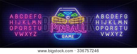 Pinball Neon Sign, Bright Signboard, Light Banner. Pinball Logo, Emblem. Neon Sign Creator. Neon Tex