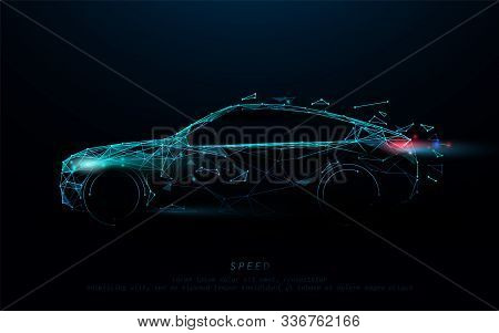 Abstract Futuristic High Speed Sports Car. Car Logo Form Lines, Triangles And Particle Style Design.