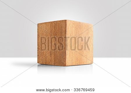 Wood Cube Isolate On White  Background, Brown Cubic Wood, With Clipping Path.